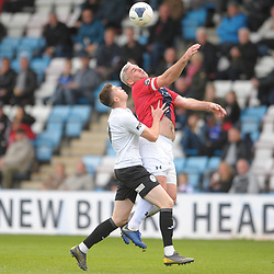 TELFORD COPYRIGHT MIKE SHERIDAN Matt Stenson of Telford battles for the ball with Steve McNulty during the National League North fixture between AFC Telford United and York City at the New Bucks Head on Saturday, October 12, 2019.<br /> <br /> Picture credit: Mike Sheridan<br /> <br /> MS201920-025