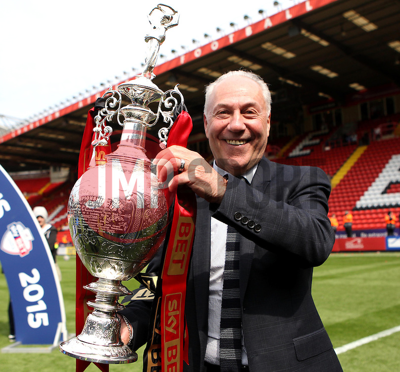 AFC Bournemouth Chairman Jeff Mostyn with the Sky Bet Championship Trophy - Photo mandatory by-line: Robbie Stephenson/JMP - Mobile: 07966 386802 - 02/05/2015 - SPORT - Football - Charlton - The Valley - Charlton v AFC Bournemouth - Sky Bet Championsip