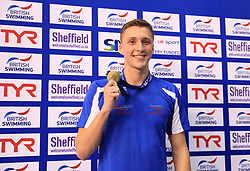 The medal ceremony for the Men's 1500m Freestyle gold medalist Daniel Jervis during day three of the 2017 British Swimming Championships at Ponds Forge, Sheffield. PRESS ASSOCIATION Photo. Picture date: Thursday April 20, 2017. See PA story SWIMMING Sheffield. Photo credit should read: Tim Goode/PA Wire