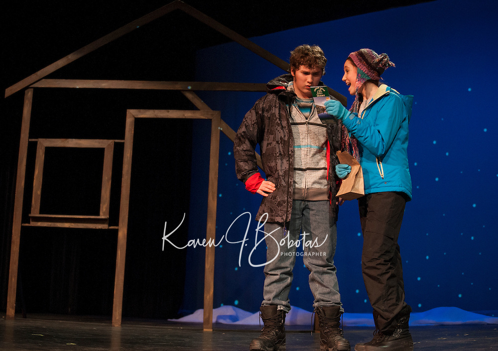 """East (Hunter Sanborn) is confused when Glory (Kaylee Lemire) asks if she can camp out in his yard during the scene """"Her Heart"""" at dress rehearsal for """"Almost, Maine"""" with Gilford High School's Performing Arts Tuesday afternoon.  (Karen Bobotas/for the Laconia Daily Sun)"""