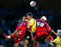 Photo: Tom Dulat.<br /> <br /> Crystal Palace v Watford. Coca Cola Championship. 29/10/2007.<br /> <br /> John Bostock(L) of Crystal Palace and Tamas Priskin of Watford head for the ball.