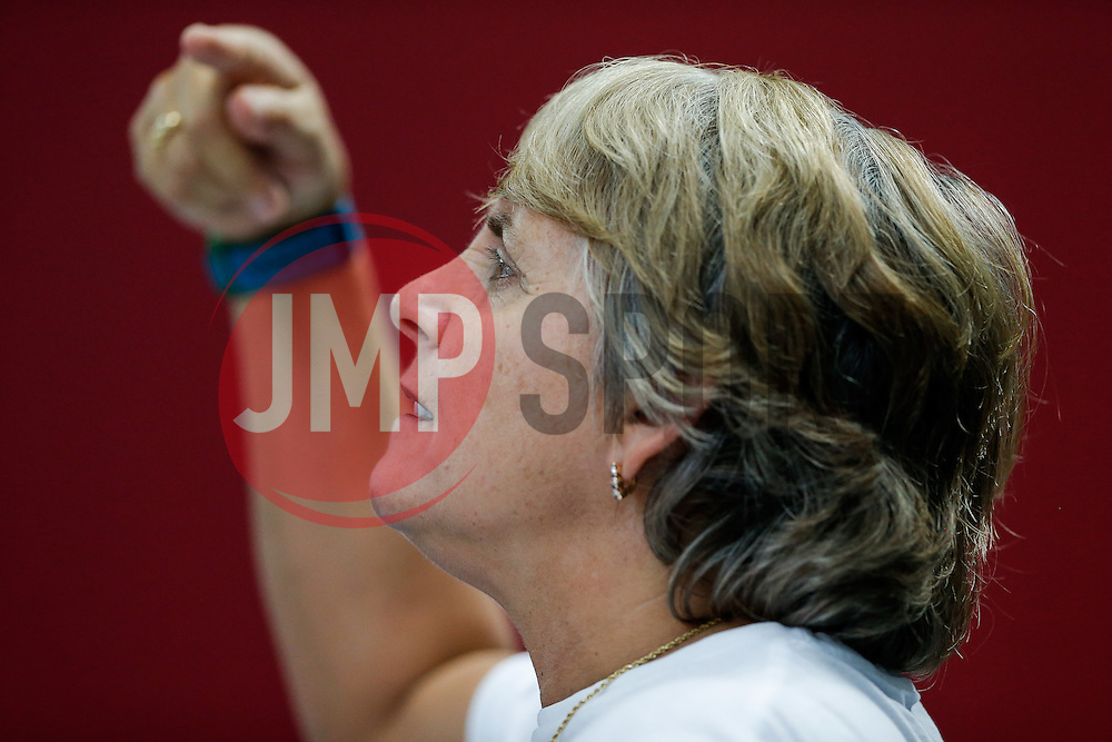 Tom Daley's coach Jane Figueiredo  looks on - Photo mandatory by-line: Rogan Thomson/JMP - 07966 386802 - 20/02/2015 - SPORT - DIVING - Plymouth Life Centre, England - Day 1 - British Gas Diving Championships 2015.