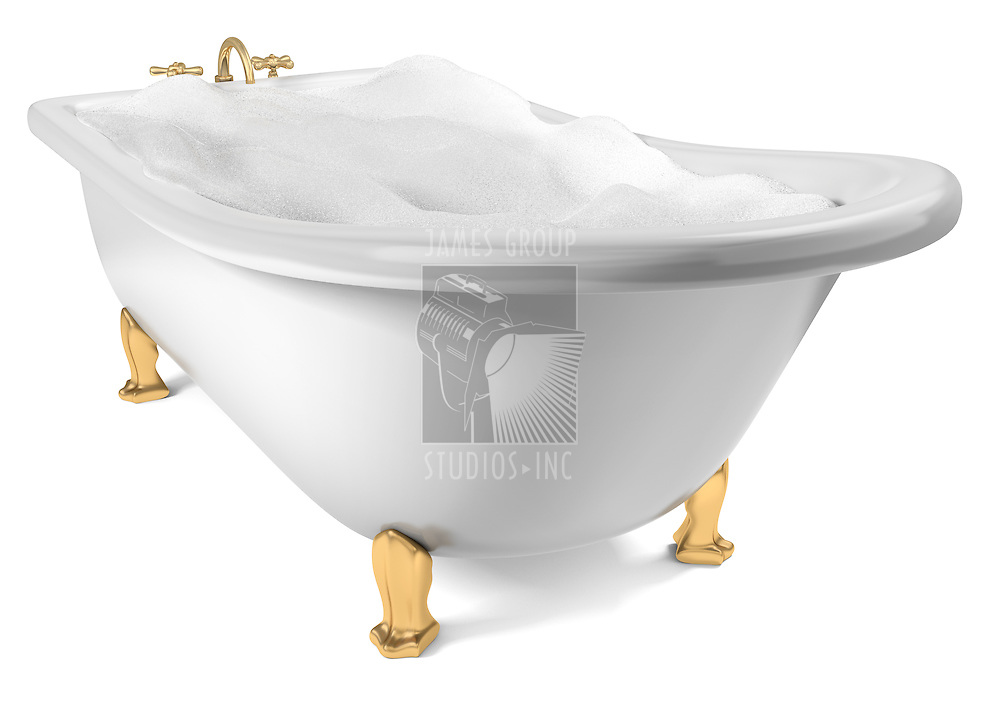 A Cast-Iron standing bathtub on white with clipping path included