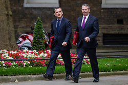 © Licensed to London News Pictures. 05/06/2018. London, UK. Secretary of State for Wales Alun Cairns (L) and Secretary of State for International Trade Liam Fox (R) arrive on Downing Street for the Cabinet meeting. Photo credit: Rob Pinney/LNP