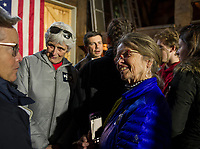 Judy Perrier and Marj Wilkinson at the New Hampton 2020 barn party with Pete Buttigieg on Saturday afternoon.  (Karen Bobotas/for the Laconia Daily Sun)