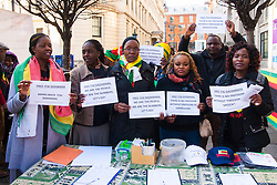 London, March 14th 2015. Zimbabweans from the Zimbabwe Vigil protest group which has spent every Saturday afternoon since 2002 demonstraing outside the country's embassy in London protest for the release of democracy activist Itai Dzamara who, it is suspected, has been abducted by the country's notorious Central Intelligence Organisation (CIO). Despite a High Court Order ordering the state to actively search for Dzamara, he has still not been located. Zimbabwean security officials hhave a track record for ignoring the courts as they continue to prop up the corrupt Mugabe regime's 34 year long rule of the country.