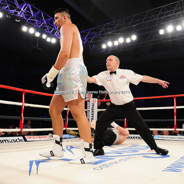 Hughie Fury defeats Ladislab Kovarik at Glow, Bluewater, Dartford, Kent, UK on 8th June 2013. Promoter: Hennessy Sports. Mandatory Credit: © Leigh Dawney