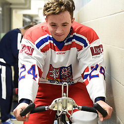 WELLINGTON, - Dec 11, 2015 -  Exhibition Game 1- Czech Republic vs OJHL All Stars at the 2015 World Junior A Challenge at the Wellington District Community Centre, ON. Tomas Smerha #24 of Team Czech Republic before the pre-game warmup.<br /> (Photo: Andy Corneau / OJHL Images)