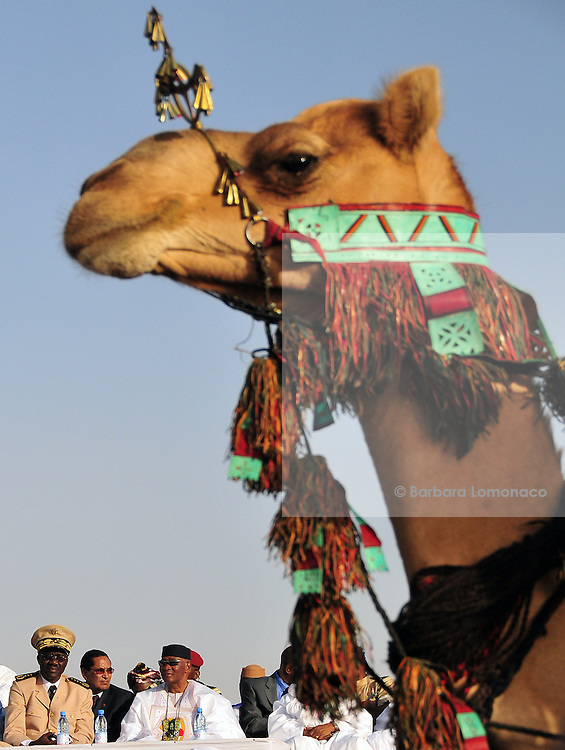 Former Malian president Amadou Toumani Touré waiting for the beginning of the camels race organized in his honour by the 10th edition of the Festival au Désert. Timbuktu