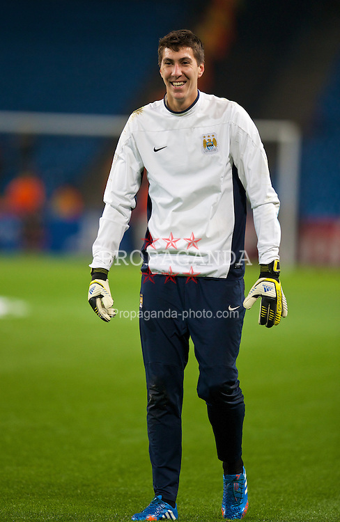 MANCHESTER, ENGLAND - Tuesday, November 5, 2013: Manchester City's goalkeeper Costel Pantilimon warms-up before the UEFA Champions League Group D match against CSKA Moscow at the City of Manchester Stadium. (Pic by David Rawcliffe/Propaganda)