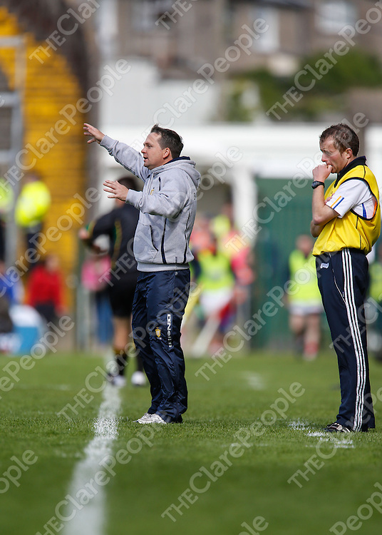 Clare Manager David Fitzgerald &amp; Seoirse Bulfin pictured during their  Munster Senior Hurling Championship Semi Final played in Gaelic Grounds Limerick.<br /> Pictured Credit Brian Gavin Press 22