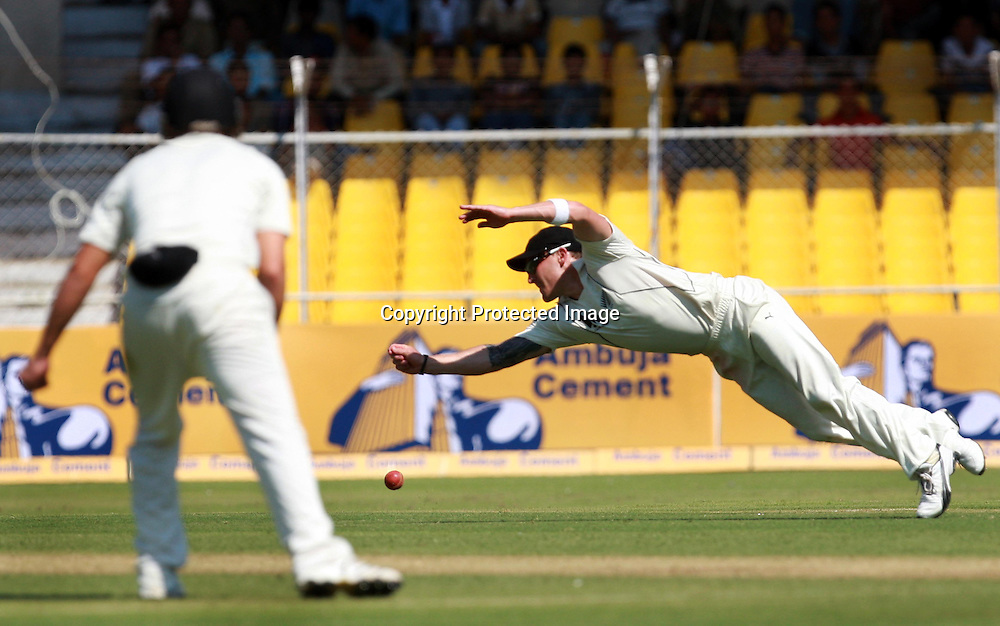 New Zealand Player Brendon McCullum Missing Catch During New Zealand vs India 1st Test Test Day-1  Played at Sardar Patel Stadium, Motera, Ahmedabad 4, November 2010 (5-day match)
