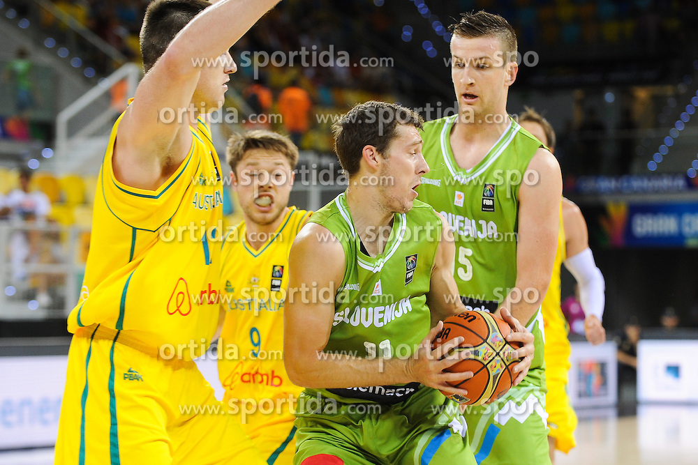 Goran Dragic of Slovenia and Alen Omic of Slovenia during basketball match between National Teams of Slovenia and Australia in Round 1 of Group D of FIBA Basketball World Cup Spain 2014, on August 30, 2014 in Gran Canaria Arena, Las Palmas, Canary Islands. Photo by Tom Luksys  / Sportida.com <br /> ONLY FOR Slovenia, France