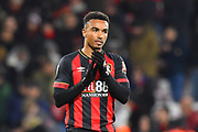 Goal scorer Junior Stanislas (19) of AFC Bournemouth applauds the home fans at full time after a 2-1 win over Norwich during the EFL Cup 4th round match between Bournemouth and Norwich City at the Vitality Stadium, Bournemouth, England on 30 October 2018.