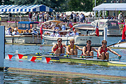 Henley on Thames, England, United Kingdom, 4th July 2019, Henley Royal Regatta, Prince of Wales Challenge Cup, Algemene Amsterdamsche Studenten Roeivereniging Skøll and Algemene Utrechtse Studenten Roeivereniging Orca, Netherlands, passing the one mile and one eight barrier,  Henley Reach, [© Peter SPURRIER/Intersport Image]<br /> <br /> 12:15:23 1919 - 2019, Royal Henley Peace Regatta Centenary,