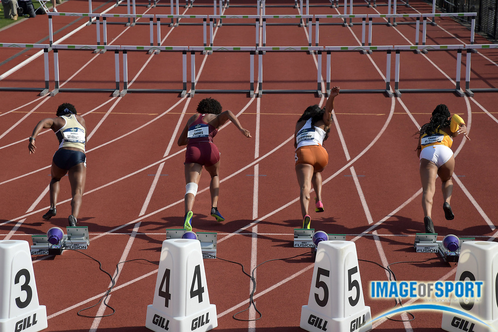 Jun 7, 2018; Eugene, OR, USA; Hurdlers in the starting blocks of a women's 100m hurdles heat during the NCAA Track and Field championships at Hayward Field. From left: Jeanine Williams (Georgia Tech), Courtney Jones (Florida State), Pedriya Seymour (Texas) and Chanel Brissett (Southern California).