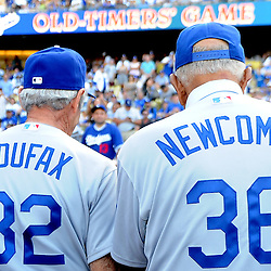 Former Los Angeles and Brooklyn Dodgers, Hall of Famer Sandy Koufax (32) with Cy Young, MVP and Rookie of the year award winner, Don Newcombe (36) during the Old-Timers game after the Los Angeles Dodgers defeated the San Francisco Giants 6-2 during a Major league baseball game on Saturday, May 10, 2013 in Los Angeles. <br />  (Keith Birmingham/Pasadena Star-News)