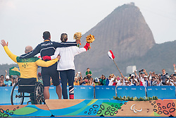 Podium, Gold Medal, SEGUIN Damien, FRA, 1 Person Keelboat, 2.4mR, Sailing, Voile, BUGG Matthew, AUS, LUCAS Helena, GBR à Rio 2016 Paralympic Games, Brazil