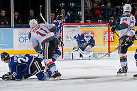 KELOWNA, CANADA -FEBRUARY 8: Coleman Vollrath #35 of the Victoria Royals makes a save against the Kelowna Rockets on February 8, 2014 at Prospera Place in Kelowna, British Columbia, Canada.   (Photo by Marissa Baecker/Getty Images)  *** Local Caption *** Coleman Vollrath;