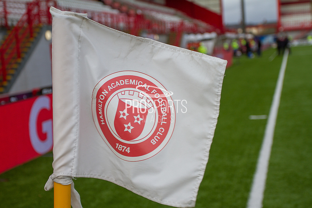 Hamilton Academical Corner Flag Badge during the Ladbrokes Scottish Premiership match between Hamilton Academical FC and Heart of Midlothian at New Douglas Park, Hamilton, Scotland on 24 January 2016. Photo by Craig McAllister.