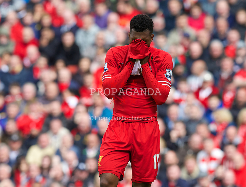 LIVERPOOL, ENGLAND - Sunday, May 11, 2014: Liverpool's Daniel Sturridge looks dejected after missing a chance against Newcastle United during the Premiership match at Anfield. (Pic by David Rawcliffe/Propaganda)