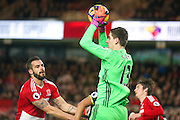 Chelsea goalkeeper Thibaut Courtois (13)  collects the ball during the Premier League match between Middlesbrough and Chelsea at the Riverside Stadium, Middlesbrough, England on 20 November 2016. Photo by Simon Davies.