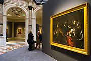 L'Ultimo Caravaggio, eredi e nuovi maestri (Last Caravaggio, Heirs and new Masters) exhibition at Gallerie d'Italia, Intesa Sanpaolo Museum, in Milan on November 30, 2017. In the picture the main paint (right) is Martirio di Sant'Orsola, oil on canvas, by Michelangelo Merisi, Caravaggio. Set-up project Valter Palmieri. © Carlo Cerchioli