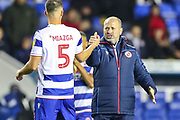 Reading Manager Mark Bowen celebrates at full time during the EFL Sky Bet Championship match between Reading and Luton Town at the Madejski Stadium, Reading, England on 9 November 2019.