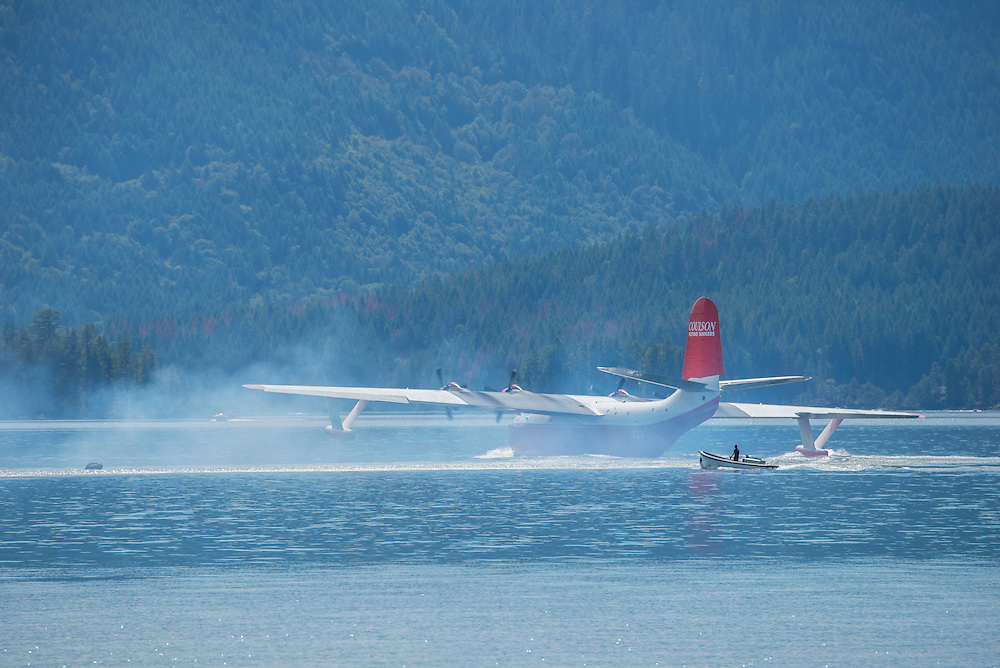 Canada, British Columbia, Vancouver Island,Sproat lake Provincial Park, water bomber