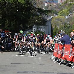 20-04-2016: Wielrennen: Waalse Pijl vrouwen: Huy    HUY (BEL) cycling    The Fleche Wallomne is the last springrace in the Womens Worldtour.  Peloton on the first climb Mur de Huy