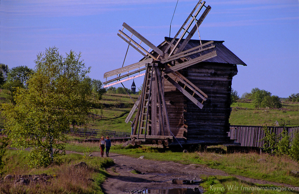 Europe, Russia, Kizhi Island. Wooden windmill on Kizhi Island.