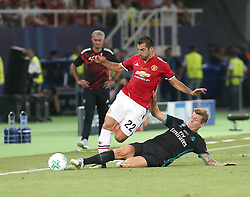 August 8, 2017 - Skopje, Macedonia - Toni Kroos of Real Madrid tackles Henrikh Mkhitaryan of Manchester United during the UEFA Super Cup final between Real Madrid and Manchester United at the Philip II Arena on August 8, 2017 in Skopje, Macedonia. (Credit Image: © Raddad Jebarah/NurPhoto via ZUMA Press)