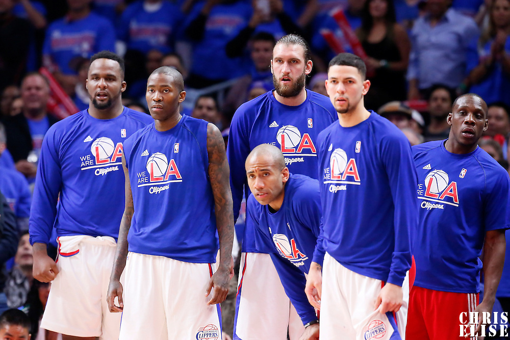 14 May 2015: Los Angeles Clippers forward Glen Davis (0), Los Angeles Clippers guard Jamal Crawford (11), Los Angeles Clippers forward Spencer Hawes (10), Los Angeles Clippers guard Dahntay Jones (31), Los Angeles Clippers guard Austin Rivers (25) and Los Angeles Clippers guard Lester Hudson (14) are seen  during the Houston Rockets 119-107 victory over the Los Angeles Clippers, in game 6 of the Western Conference semifinals, at the Staples Center, Los Angeles, California, USA.