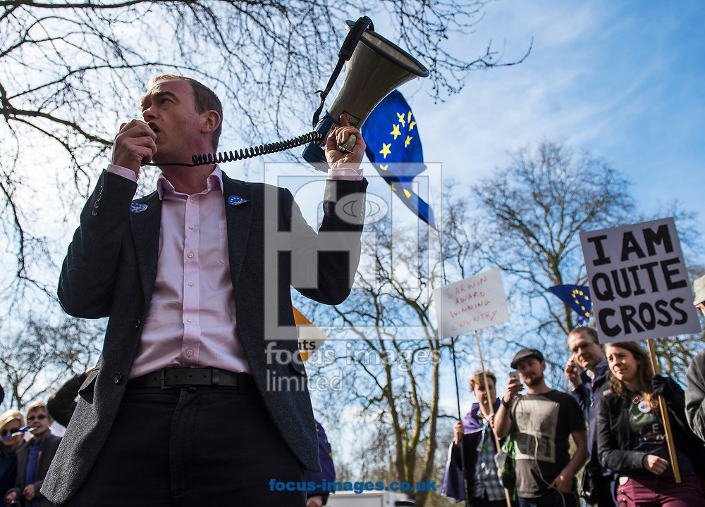 Tim Farron, leader  of the Liberal Democrats, has announced he is standing down in the wake of the General Election.  Westminster, London<br /> Picture by Daniel Hambury/Stella Pictures Ltd 07813022858<br /> 14/06/2017<br /> <br /> SPL TIM FARRON MP 13.jpg<br /> <br /> Original Caption:<br /> Tim Farron MP addresses members of the Liberal Democrats ahead of Unite for Europe march, starting in Park Lane and ending in a rally in Parliament Square.<br /> Picture by Daniel Hambury/Stella Pictures Ltd 07813022858<br /> 25/03/2017