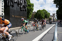 Kasia Niewiadoma on lap two past the Women of World War Two Memorial - Stage 5 of the OVO Energy Women's Tour - a 88.2 km road race, starting and finishing in London on June 11, 2017, in the United Kingdom. (Photo by Sean Robinson/Velofocus.com)