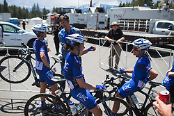 UnitedHealthcare Cycling Team riders discuss the stage after Stage 2 of the Amgen Tour of California - a 108 km road race, starting and finishing in South Lake Tahoe on May 18, 2018, in California, United States. (Photo by Balint Hamvas/Velofocus.com)