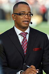 September 20, 2010; San Francisco, CA, USA;  ESPN commentator Stuart Scott before the game between the San Francisco 49ers and the New Orleans Saints at Candlestick Park.