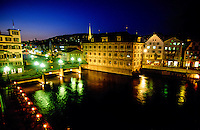 Limmatquai and Rathausbrucke (bridge), Zurich, Switzerland