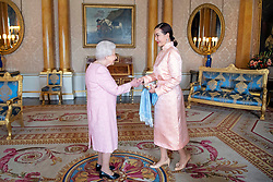 Burmaa Batbold meets Queen Elizabeth II during a private audience at Buckingham Palace, London.