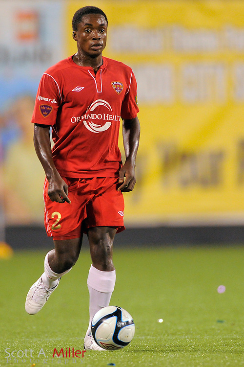 Orlando City Lions defender Mechack Jerome (2) during the Lions 4-0 win over the Charleston Battery at the Florida Citrus Bowl on July 27, 2012 in Orlando, Florida. The win clinched the USL-Pro regualr season title for Orlando...© 2012 Scott A. Miller..