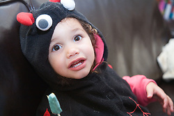 Little girl dressed up for Halloween,