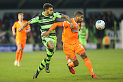 Forest Green Rovers Kaiyne Woolery(14) challenges Braintree Town's Jerome Okimo during the Vanarama National League match between Forest Green Rovers and Braintree Town at the New Lawn, Forest Green, United Kingdom on 21 January 2017. Photo by Shane Healey.