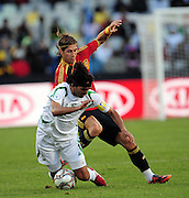 Nashat Akram and Sergoi Ramos  during the soccer match of the 2009 Confederations Cup between Spain and Iraq played at Vodacom Park,Bloemfontein,South Africa on 17 June 2009.  Photo: Gerhard Steenkamp/Superimage Media.