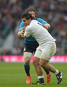 Twickenham Great Britain.  Billy VUNIPOLA, running with the ball, confronted by Francesco MINTO, during the 2015 RBS Six Nations Rugby; England vs Italy. RFU Twickenham Stadium. England. Saturday  14/02/2015  [Mandatory Credit; Peter Spurrier/Intersport-images]