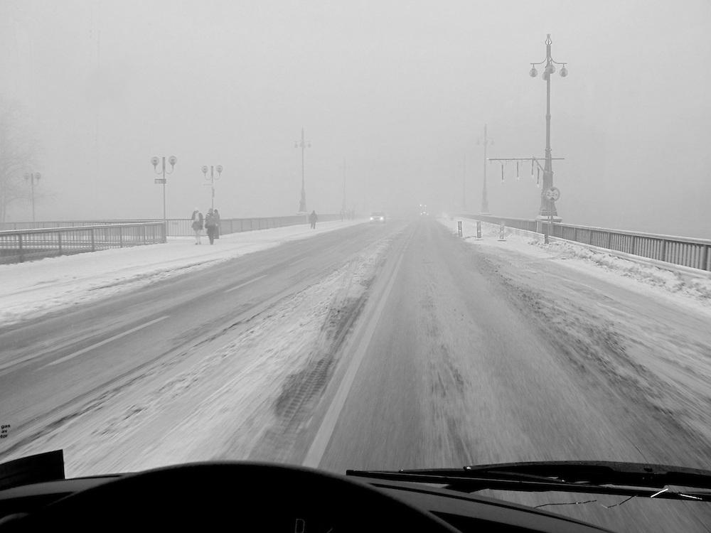 Med buss över Vasabron.