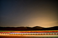 Long exposure at night on a highway in the Judean desert near Arat, Israel