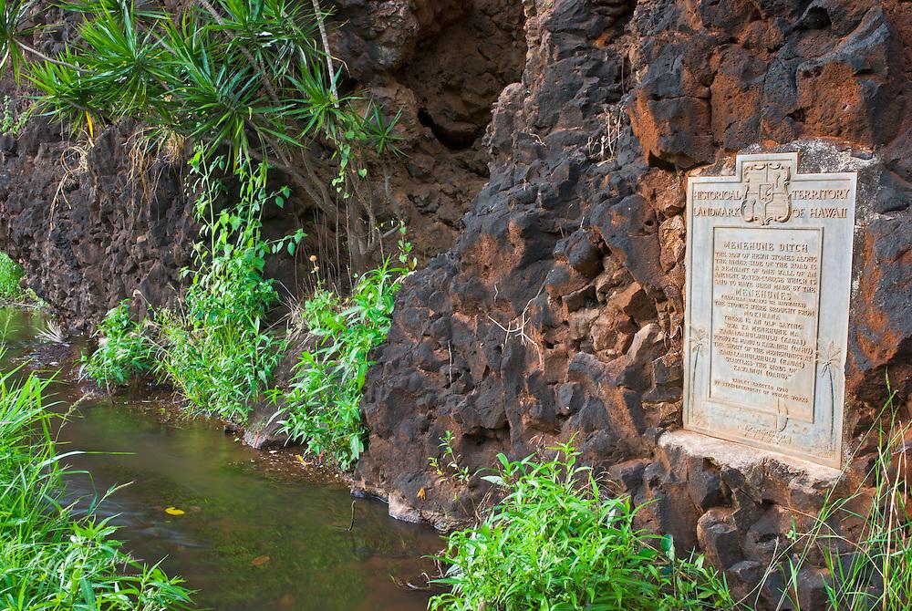 Historical plaque at the Menehune Ditch, Waimea, Island of Kauai, Hawaii