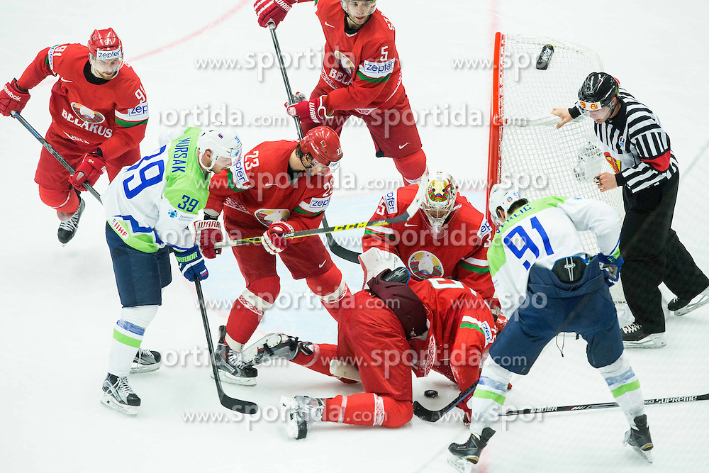 Jan Mursak of Slovenia and Miha Verlic of Slovenia vs Kevin Lalande of Belarus during Ice Hockey match between Belarus and Slovenia at Day 2 in Group B of 2015 IIHF World Championship, on May 2, 2015 in CEZ Arena, Ostrava, Czech Republic. Photo by Vid Ponikvar / Sportida
