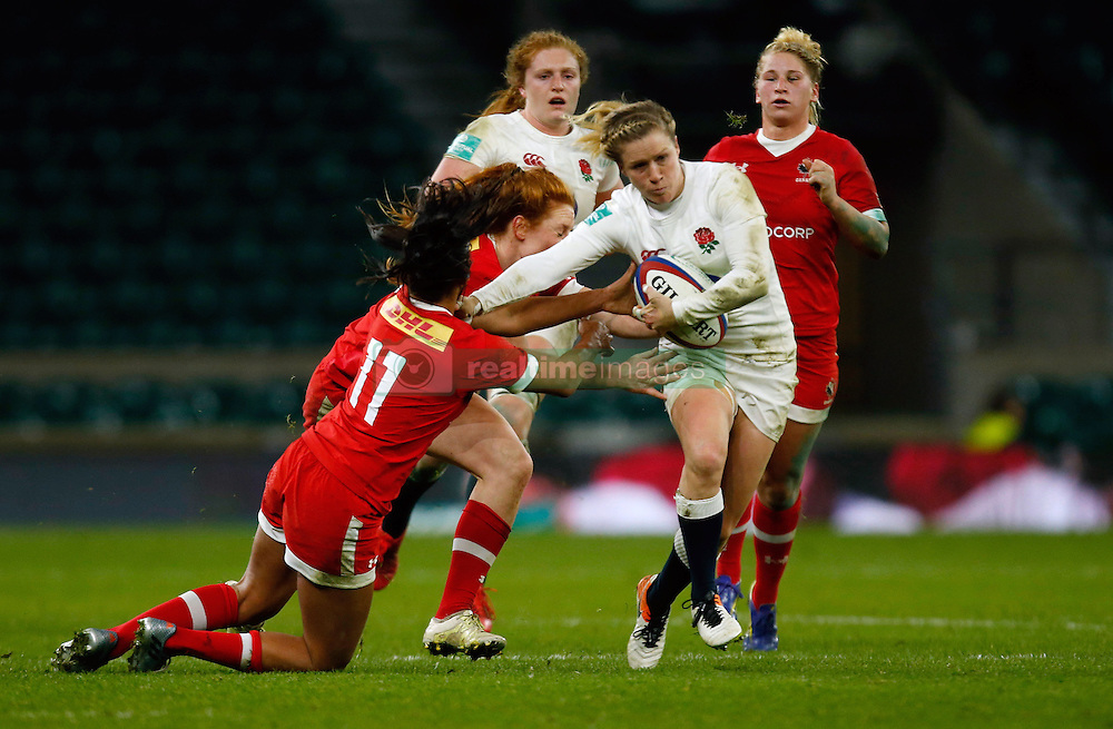 England's Danielle Waterman and Canada's Magali Harvey and Alexandra Tessier during the Old Mutual Wealth Series match at Twickenham Stadium, London.