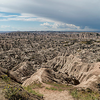 The landscape of Badlands National Park in South Dakota.  The terrain was formed by deposition and erosion over a period of 47 million years.